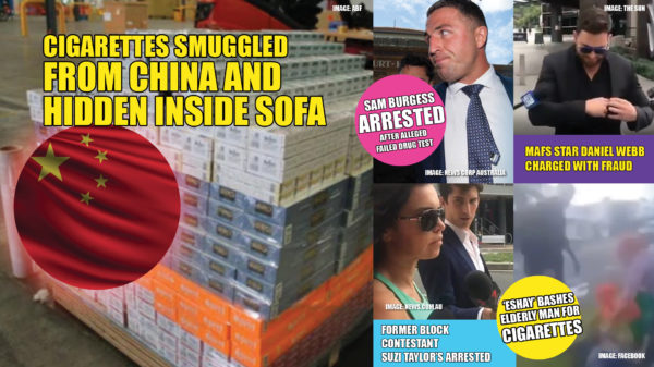 A Perth man has been arrested for attempting to smuggle in 100,000 cigarettes, stuffed into a couch, from China